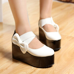 Women's Girls Sweet Bow Platform High Heels Mary Jane Shoes Thick Sole Creepers