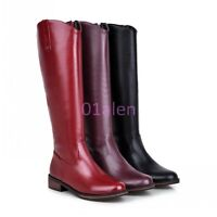 Womens Vintage Oxfords Zip Knee HIgh Long Riding Equestrian Leather Boots Shoes