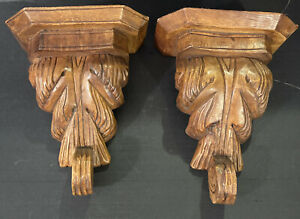 """Set Of Carved Wood Wall Shelf Sconces - Vintage - Approx 12""""X 9.5"""""""