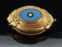 Antique Pinchbeck Victorian Brooch Pin Blue Glass Seed Pearl Outstanding C.1880s