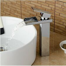 Waterfall Bathroom Tall Faucet Chrome Brass Vanity Sink Mixer Tap Square Faucet
