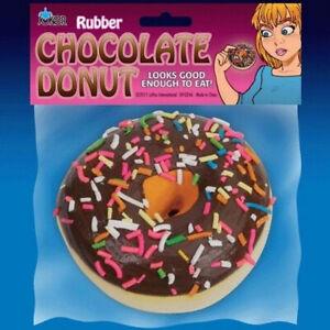 Rubber Chocolate Donut Fake Rubbery Realistic Prank Joke Sprinkles Food Fool