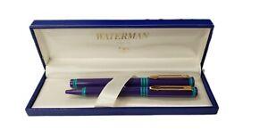 Vintage Waterman Forum School Pen Set Purple & Aqua & Gold New in Box