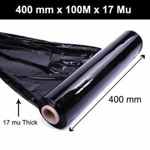 BLACK PALLET STRETCH SHRINK WRAP CAST PACKING CLING FILM - 400mm x 100M x 17Mu -