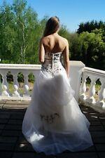 Trägerloses Brautkleid weiß/schwarz Hochzeitskleid Größe 38