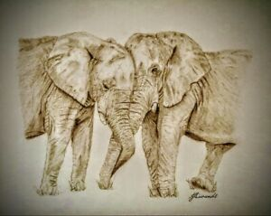 "ELEPHANTS LOVE 6x4"" Matt Photo Print Picture of Original Animal Drawing Gift"