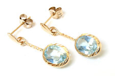 9ct Gold Oval Blue Topaz drop dangly Earrings Gift Boxed Made in UK