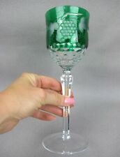 Superb vintage green overlay cut crystal glass tall Wine / Champagne Glass 250ml