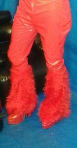 Damen Plateau Stiefel rot mit Fellbesatz 43