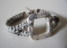 Bracelet  Macramé gris perle Femme * chaînette de sécurité * bijou fantaisie
