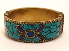 Mosaic Hinged Bangle Bracelet Vintage Gold Tone Brass Turquoise