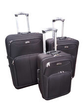 Set of 3 Piece Travel Luggage Wheel Trolleys Suitcase Bag Soft Polyester