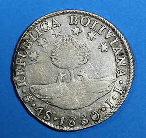 BOLIVIA SILVER 1830 PTS JL 4 Soles  KM# 96a.2