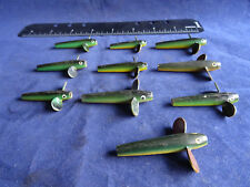 A GOOD SELECTION OF VINTAGE YELLOW BELLY METAL DEVON LURES