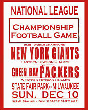 1938 NFL CHAMPIONSHIP GAME - GIANTS vs PACKERS Billboard Ad Sign, 8x10 Photo
