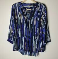 Dana Buchman Women's Top Size XL Popover Blouse 3/4 Sleeves V-Neck Casual Work