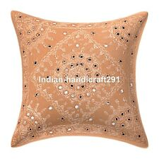 Mirror Embroidered Cotton Cushion Cover Indian Bedding Sofa Pillow Case Cover