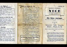 NICE (06) RESTAURANTS CAFES BRASSERIES GLACIERS MAISONS de THE / Listing en 1938