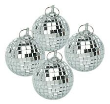 More details for 4 x silver 5cm lightweight glass reflective disco mirrorballs