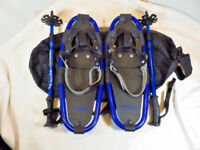 """Youth Snowshoes 19"""" long Thunder Bay w/ Poles + Carry Bag - Excellent Cond"""