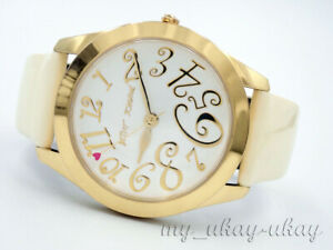 BETSEY JOHNSON BJ2137 White Dial Cream Leather Band Ladies Dress Watch