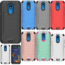 For LG K40 Combat Brushed Metal HYBRID Rubber Hard Case Phone Cover Accessory