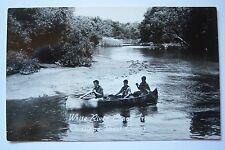WHITE RIVER Canoe Trip OWASIPPE BOY SCOUT CAMPS MI postcard RPPC circa 1961