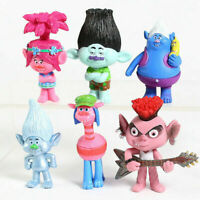 New Movie Trolls 2 Poppy Branch Action Figures Cake Toppers Doll Toy Gifts 6Pcs