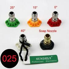 """2.5GPM Pressure Washer Spray Nozzles Tip Set Variety Degrees 1/4"""" Quick Connect"""