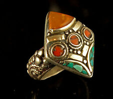 Tibetan White Metal Copper Antiqued inlaid Real Turquoise, Faux Amber Square