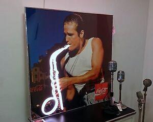Großes 1x1 m Neon Werbung Plakat Coca Cola Saxophone Spieler  Bar Coke 1980er