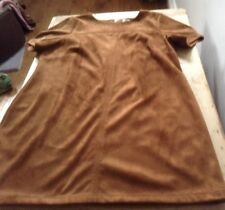 Ladies Tan Faux Suede Shift Dress Size 18