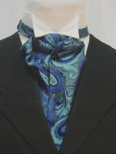 Blue and Black Paisley Ascot Cravat Wedding Old West Puff Tie with pin