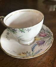 Tuscan Tea Cup & Saucer Soft Blush Pink with Pink Floral Pattern