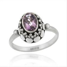 925 Silver Amethyst Oval Bali Design Ring Size 6