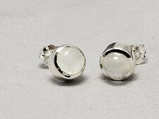 Sterling silver earrings, bezel,white moonstones, 6mm stones, new, hand set #2