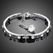 Made With Swarovski Crystal Sparkly Silver Color Charm Bracelet Bangle Jewelry