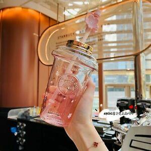 Starbucks 2021 China Pink Sakura Blossom Topper 16oz Glass Cup Tumbler Limited