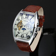 Men's Mechanical Dial Brown Leather Classic Automatic Stainless Steel Tourbillon