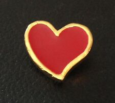 """Vintage 1"""" Realistic Novelty Figural Metal Red And Gold Heart Button"""