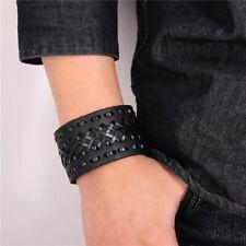 Mens Vintage Viking Genuine Leather Celtic Norse Black Bracelet Arm Ring