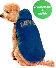 Martha Stewart Pets Dog Fleece Hooded Vest Blue Love PJ Shirt Clothes Apparel Go
