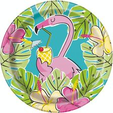 8 x placas de papel de lujo Flamingo Hoja De Oro Acabado Tropical Hawaiano Fiesta 23 Cm