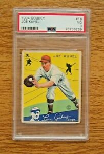 1934 Goudey PSA 3 VG #16 Joe Kuhel Washington Senators