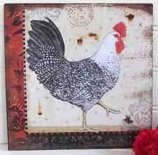 Shabby Chic Vintage Style Rooster Chicken Hen Metal Picture Plaque - Right- New