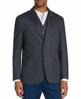 Tallia Mens Suit Seperates Blue Size 2XL Knit Blazer Stretch Check $198 358