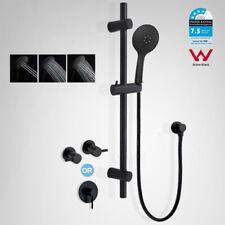 Black Round Stainless Steel Sliding Rail 3 Mode Handheld Shower Head Mixer Tap