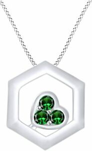"""Simulated Emerald Hexagons Heart Pendant W/ 18""""  Necklace In Sterling Silver"""
