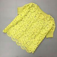 Valentino Women Summer Lemon Yellow Cotton Floral Lace Blouse Shirt Top S M US4