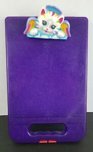 LISA FRANK Storage Case Hard Clip Board Lap board Art Purple Angel Cat Vintage